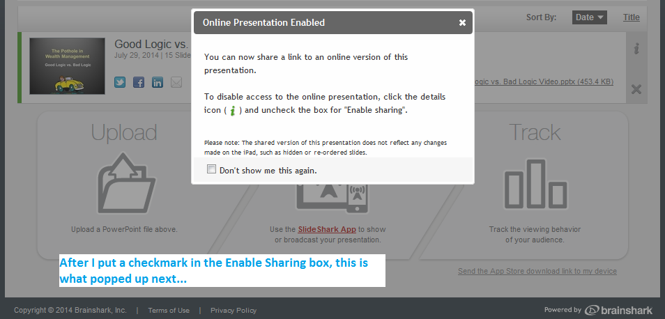 your onlne presentation is enabled